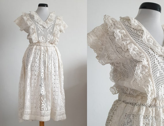 Vintage 1970s crochet dress | 70s cotton lace dres