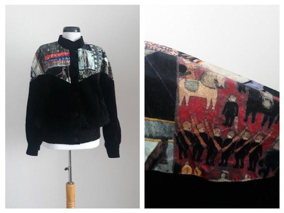 Vintage 1970s velvet jacket   70s velvet bomber ja