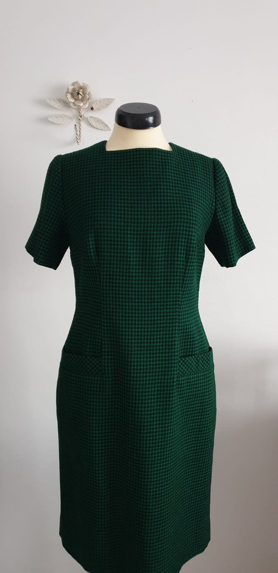 1950s green black gingham wool dress | vintage 50… - image 5