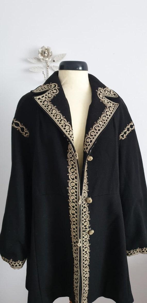 1940s black wool coat | vintage 40s embroidered c… - image 2