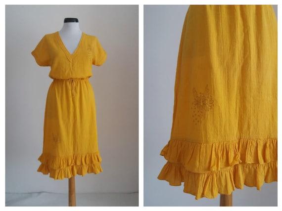 Vintage 1970s embroidered dress| 70s floral gauze