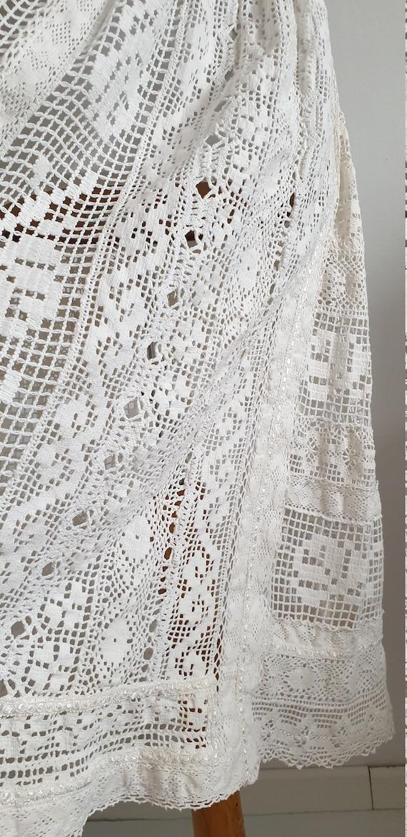 Vintage 1970s crochet dress | 70s cotton lace dre… - image 8