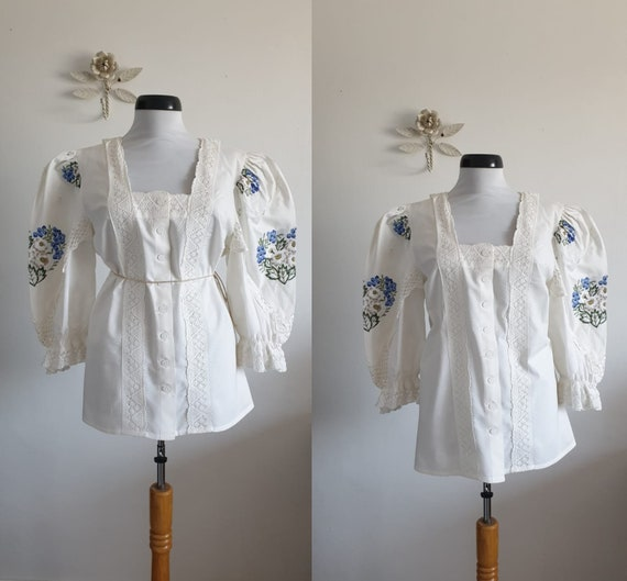1970s white cotton blouse | vintage 70s embroidery