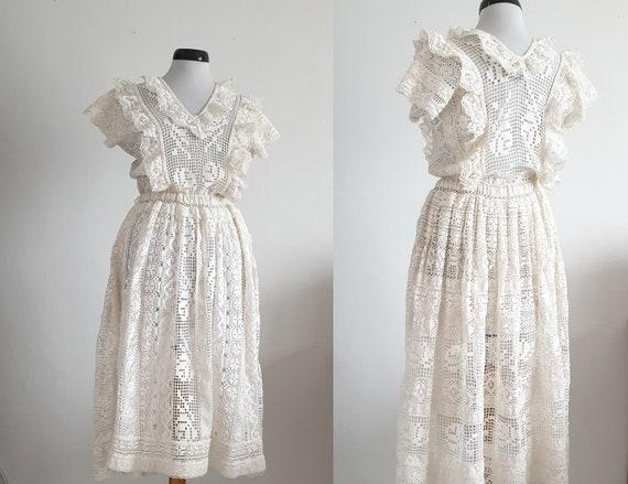 Vintage 1970s crochet dress | 70s cotton lace dre… - image 2