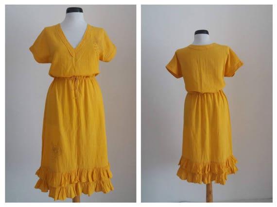 Vintage 1970s embroidered dress| 70s floral gauze… - image 2