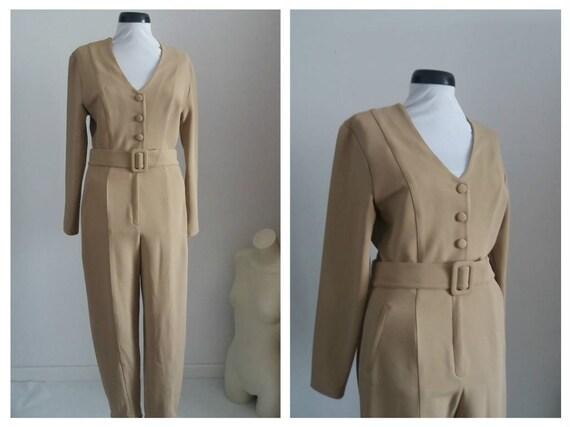 Vintage 1980s jumpsuit | 80s  beige romper| 1980s