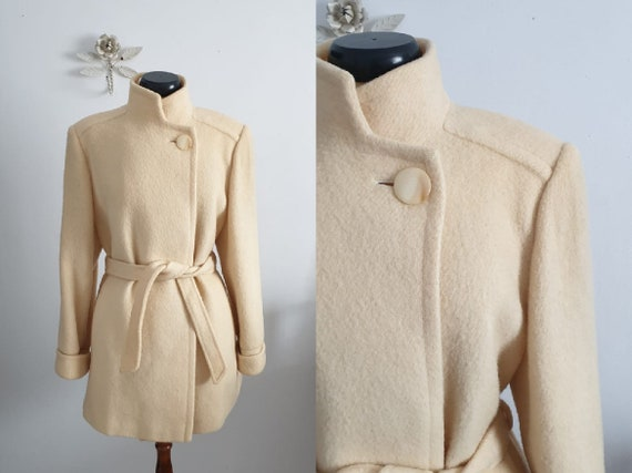 1960s wool coat | vintage 60s white wool coat