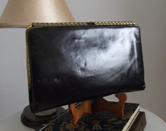 1940s black leather clutch/ 40s bag/ 40s leather clutch purse