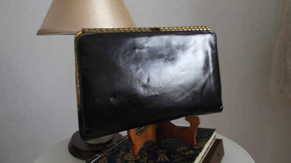 1940s black leather clutch/ 40s bag/ 40s leather c