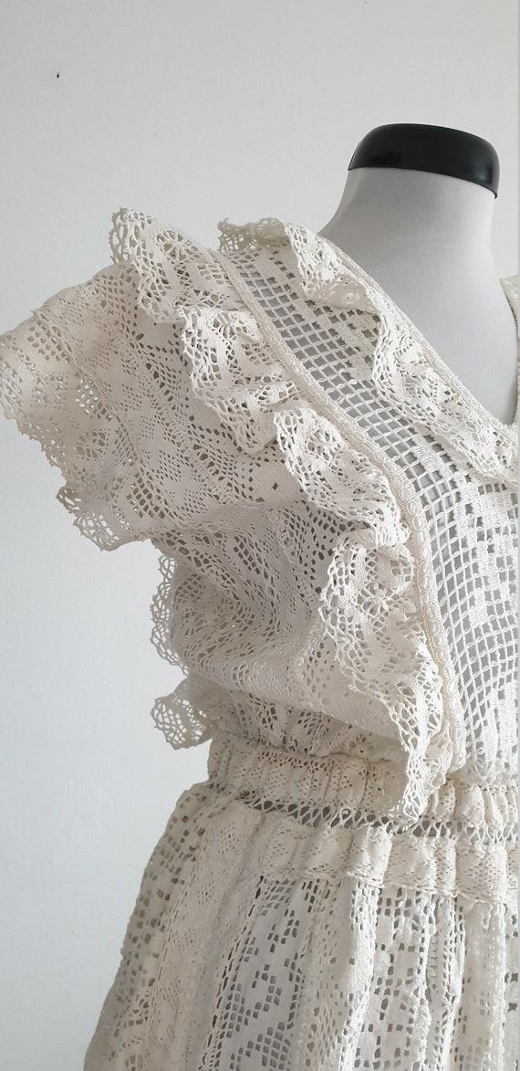 Vintage 1970s crochet dress | 70s cotton lace dre… - image 6