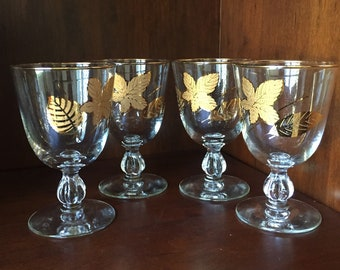 MCM Wine Juice Drink Glasses Embossed Leaves