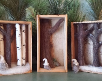 Gnome Tomte Forest Tree Shadow Box Needle Felted