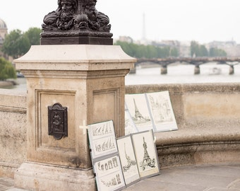 Dreamy Eiffel Tower Paintings with the Eiffel Tower on Pont Neuf in Paris, Paris Prints, Paris Photography, Anniversary Gift, Baby Room Art