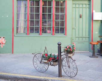 Bicycle with Flowers on a Calm Parisian Street, Paris Photography, Paris Print, Home Decor, Living Room Wall Art