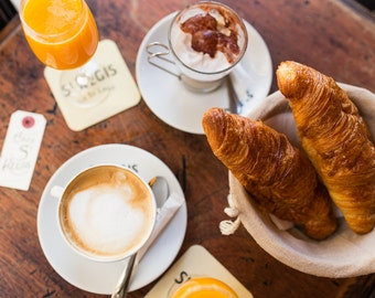 Paris Photography, Café St-Regis, Paris Print, Home Decor, Parisian Café, Paris Decor, Kitchen Decor, Croissants, Breakfast in Paris