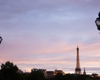 The Eiffel Tower from Pont Alexandre III at Sunset, Paris Photography, French Prints, French Home Decor, living room art, Bedroom Art