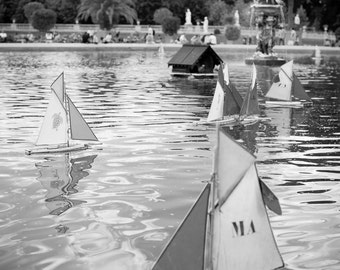 Paris Photography, Boats floating in the Jardin du Luxembourg Fountain in Paris, Parisian Wall decor, Kid's room decor