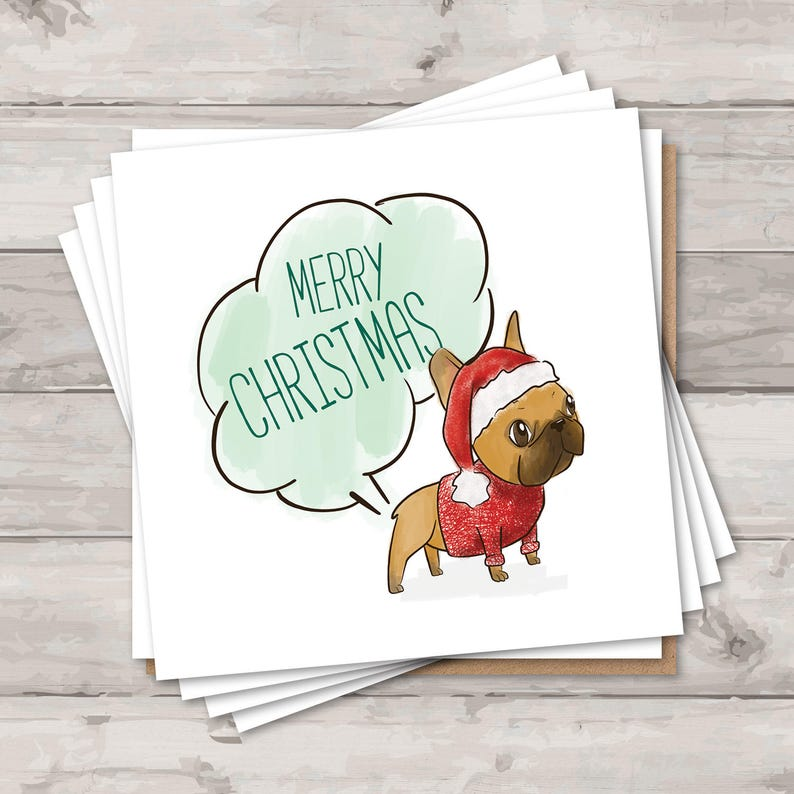 Cute Christmas Cards.Pack Of 10 French Bulldog Christmas Cards Holiday Card Set Pack Of Christmas Cards Funny Christmas Cards Cute Christmas Cards
