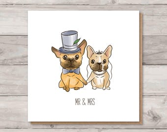French Bulldog Wedding Card | Mr and Mrs | Frenchie Congratulations Card | Wedding Gift
