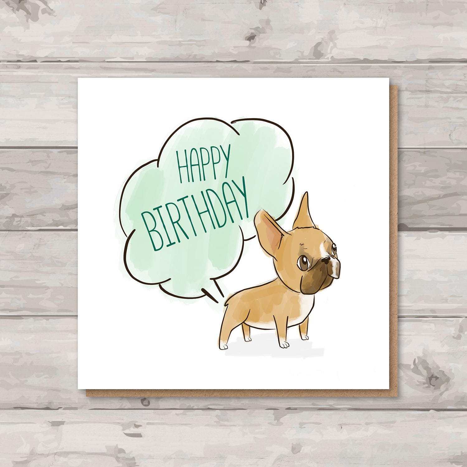French Bulldog Birthday Card Rude Frenchie