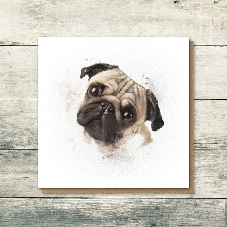 Pug Card Birthday Dog Cute Cards