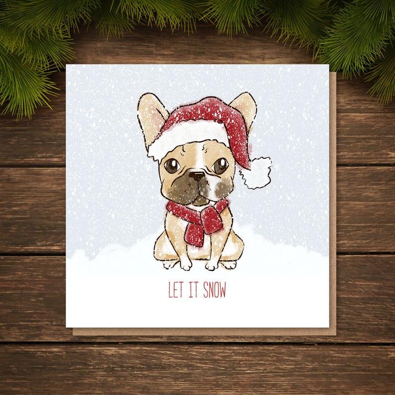 Рождественские открытки с бульдогом