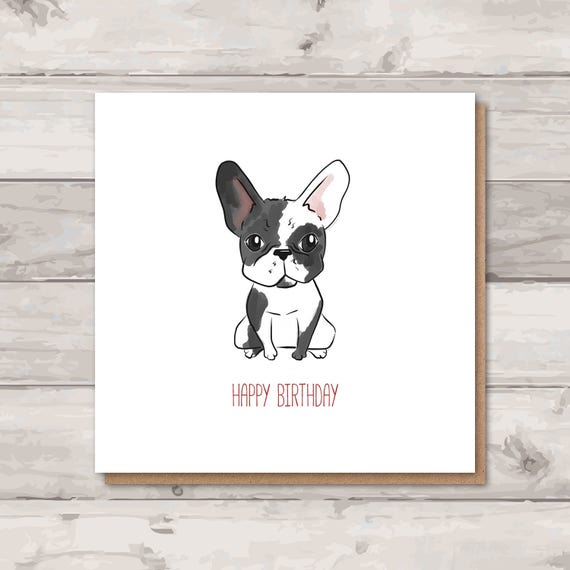 French Bulldog Birthday Card Frenchie