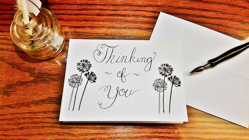 Handmade Calligraphy Thinking of You Cards Customizable Personalized Cards