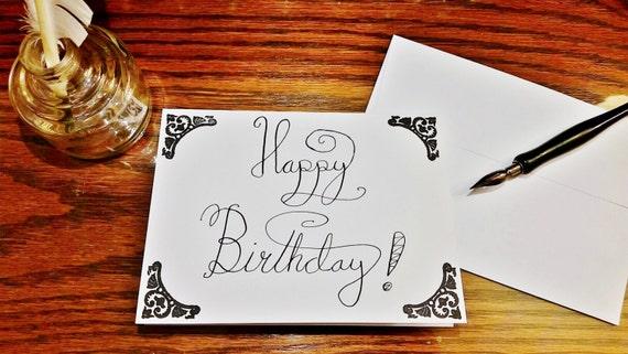 Handmade Calligraphy Happy Birthday Cards Customizable