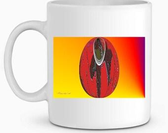 Egg white ceramic mug red on yellow background