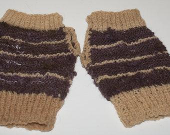 Purple Merino and wool fingerless gloves