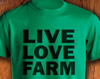 Men's Farm Tshirt Live Love Farm shirt farmer shirt farming shirt shirt for farming  shirt for farmerChristmas Gift