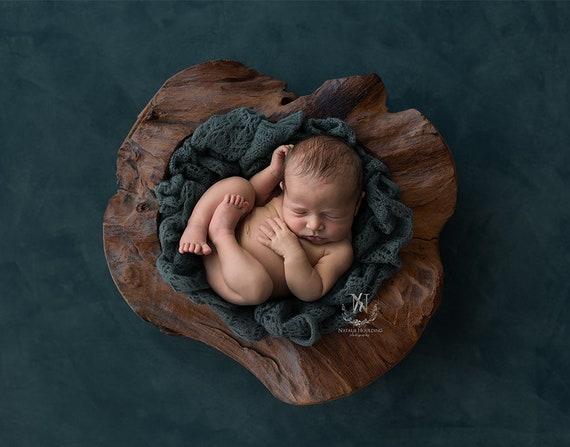 Home Decor Rustic Newborn Boy Photography Props Custom Photo Props Sitter Twins Large Wood Bowl Newborn Boy Wood Bowl Baby Photo Prop