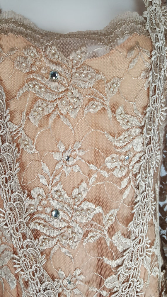 Beaded Embroidery Vintage Peach Tan Waist Lace Drop Dress Pearls 1920s w7qqSn0fR