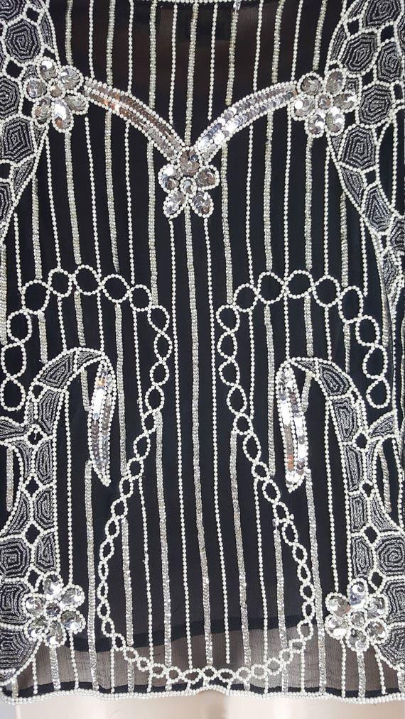 Silver Beads Pearl Beaded Sequin Black Top Vintage Sequins Sleeves Clothing Vintage Elastic White 60HfvqWwq