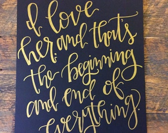 Great Gatsby, F. Scott Fitzgerald Hand-lettered Quote
