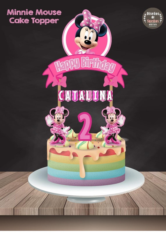 Minnie Mouse Cake Topper Girl Birthday Minnie Mouse Etsy