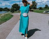 MARIMEKKO dress Finland turqoise green low waist maxi dress Marimekko 80s drop waist dress Short kimono sleeve wide ruffle hem cotton dress
