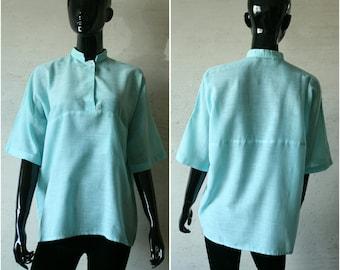 2643d685b5c61f LES COPAINS Vintage mint green women s lightweight cotton blend T-shirt  Mandarin collar dolman sleeve Simple women s top with short sleeve