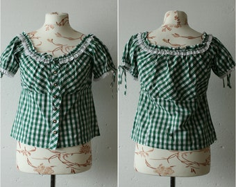 1414466c1ff9a3 Vintage Dirndl grün weiß Check Print aus Schultern Bluse Spitze Hals  Kurzarm Bluse Bauern Oktoberfest Trachten karierte Bluse oben M