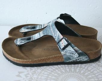 fa50f0a1ec0a BIRKENSTOCK women s thong sandals Denim pattern Birkensock slides contured  cork footbed Summer beach shoes Made in Germany EU 38 UK 5 us 6