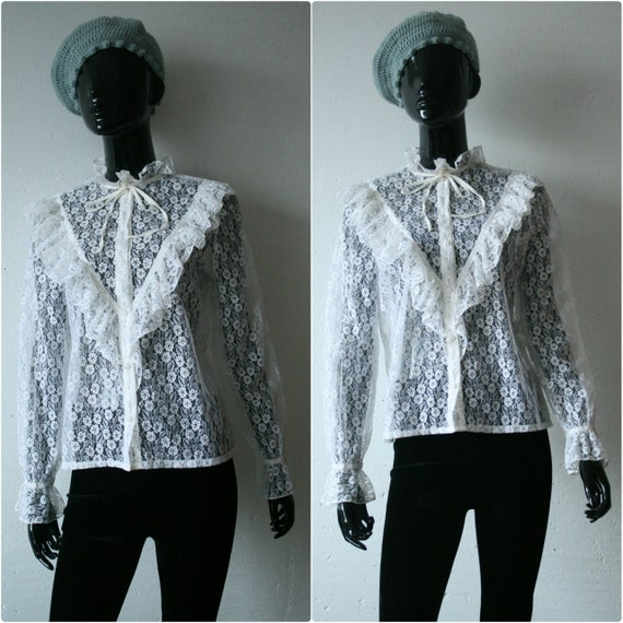 7d4a1a050f1c04 Victorian off white lace blouse with frills Frilled cuffs
