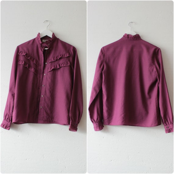 Vintage Victorian style pure wool magenta blouse … - image 7