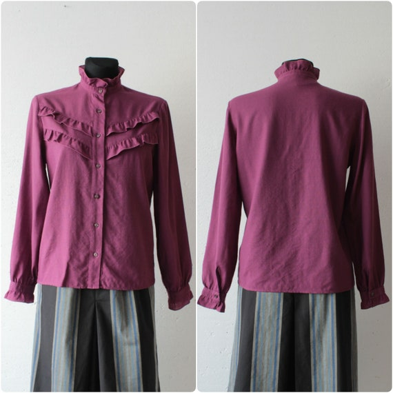 Vintage Victorian style pure wool magenta blouse … - image 2