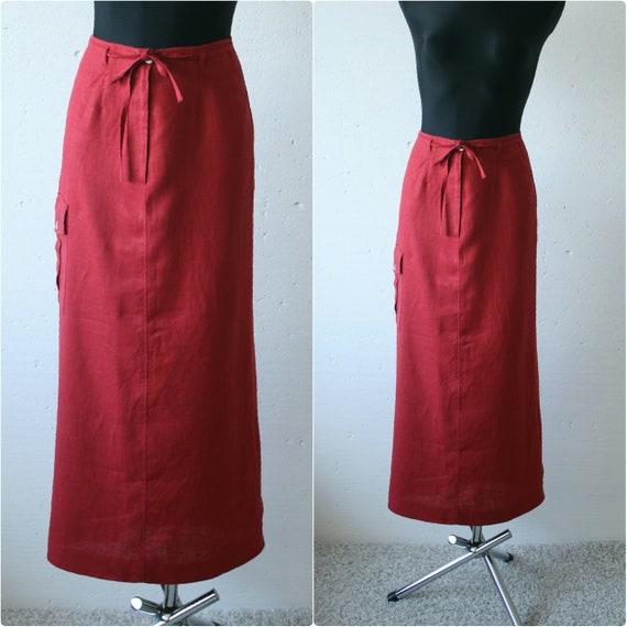 Vintage red linen women's maxi skirt Back slit sid