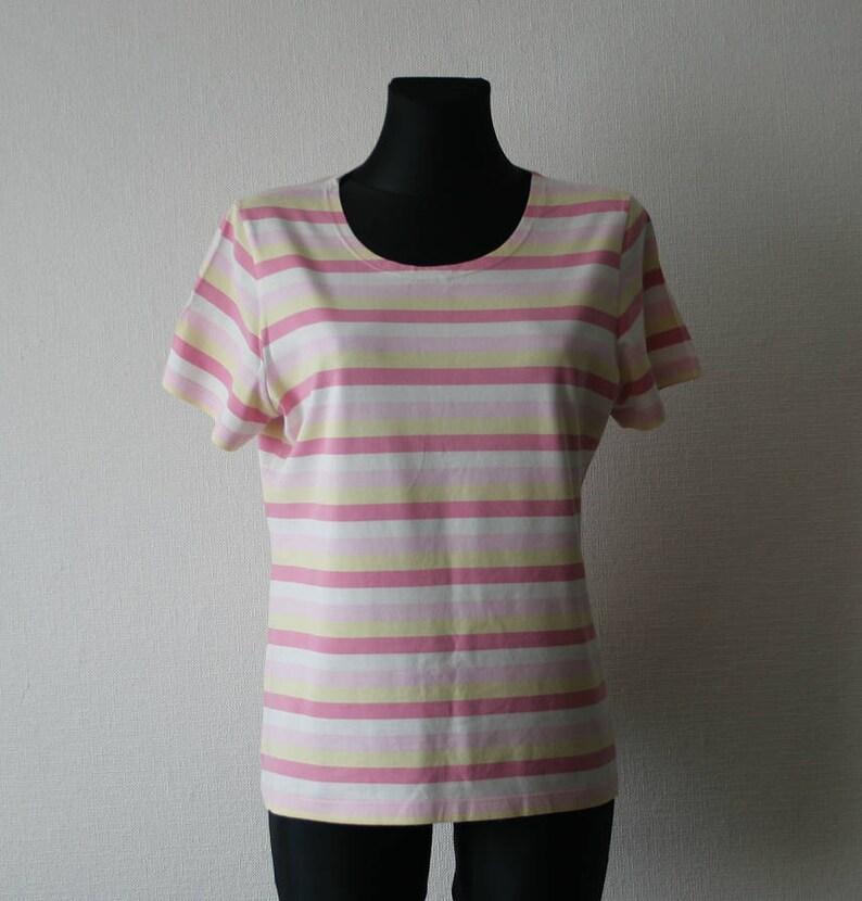 4400b39d98 Marimekko womens T-shirt Marimekko top Striped top Pink yellow   Etsy