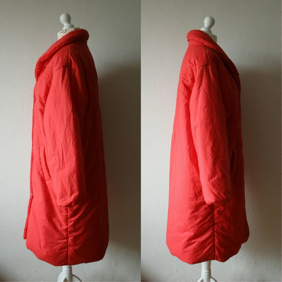 maxi coat 80's duvet style Vintage High TIKLAS super collar warm Finland puffer bright padded oversized Finnish winter red xRzvq
