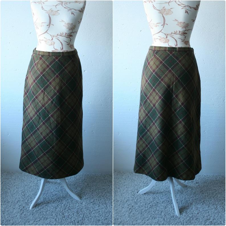 17f076834 Vintage pure wool tartan midi skirt Brown green check print | Etsy