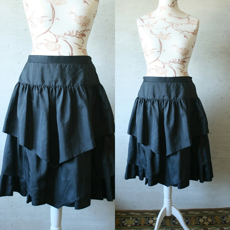 75d262aa18 Vintage MEICO black Goth skirt Flare layered over the knee | Etsy