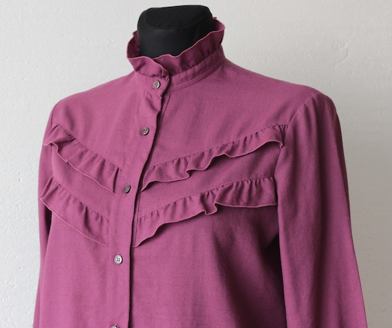 Vintage Victorian style pure wool magenta blouse … - image 3